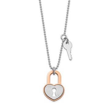 Sterling Silver RH-plated Rose gold-plated Heart Lock w/1.5in ext. Necklace