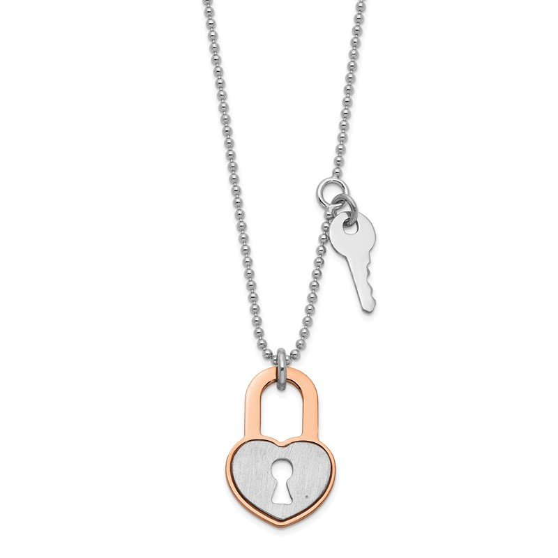 Quality Gold Sterling Silver RH-plated Rose gold-plated Heart Lock w/1.5in ext. Necklace