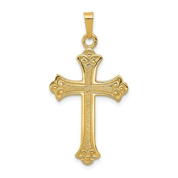 14k Textured and Polished Fleur de lis Cross Pendant