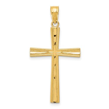 14k Reversible Satin/Diamond-cut Cross Pendant