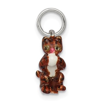 Silver Enamel Cat playing with Yarn Charm