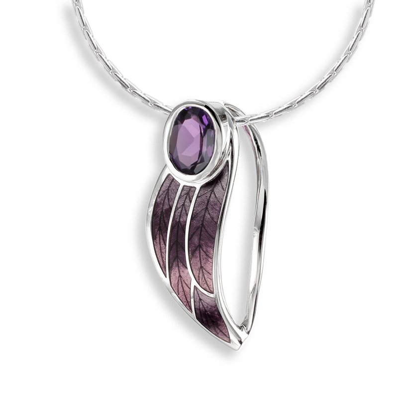 Nicole Barr Designs Purple Contoured Leaf Necklace.Sterling Silver-Amethyst