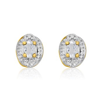 14k Yellow Gold White Topaz Earrings with Diamonds