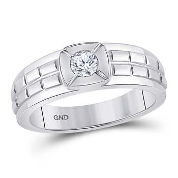 14kt White Gold Mens Round Diamond Solitaire Grid Fashion Ring 1/2 Cttw