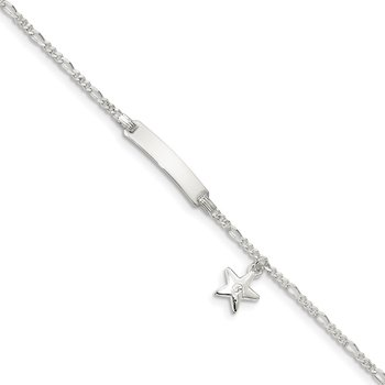 Sterling Silver Children's ID with Star Charm Bracelet