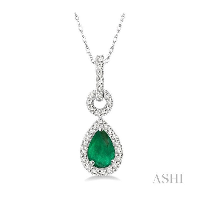 ASHI pear shape gemstone & diamond pendant