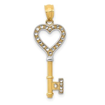 14K w/White Rhodium Polished Heart Key Charm