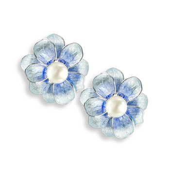 Blue Camellia Stud Earrings.Sterling Silver-Freshwater Pearls