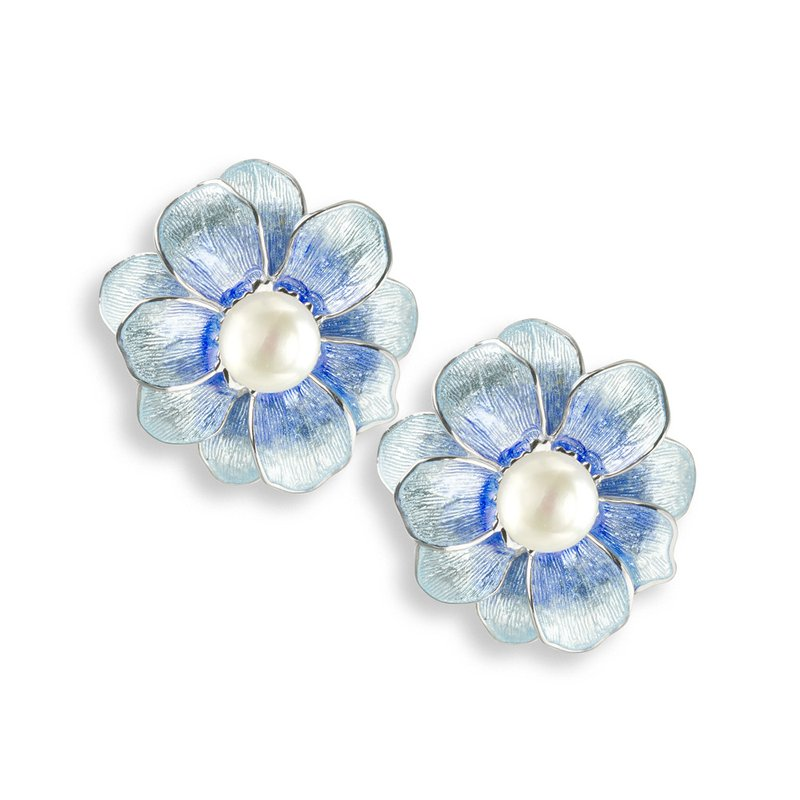 Nicole Barr Designs Blue Camellia Stud Earrings.Sterling Silver-Freshwater Pearls
