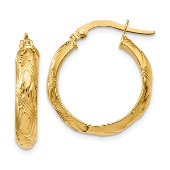 Leslie's 14k Polished and Textured Hinged Hoop Earrings