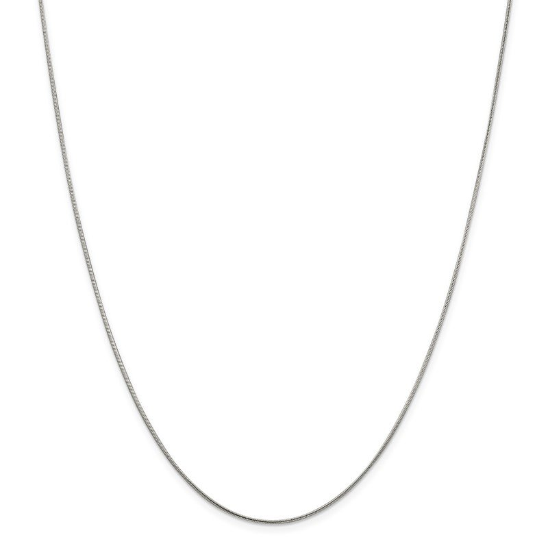 Quality Gold Sterling Silver Rhodium-plated 1mm Round Snake Chain