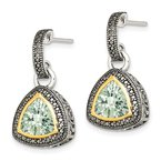 Quality Gold Sterling Silver w/ 14K Accent Green Quartz Dangle Earrings