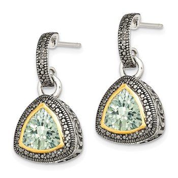 Sterling Silver w/ 14K Accent Green Quartz Dangle Earrings