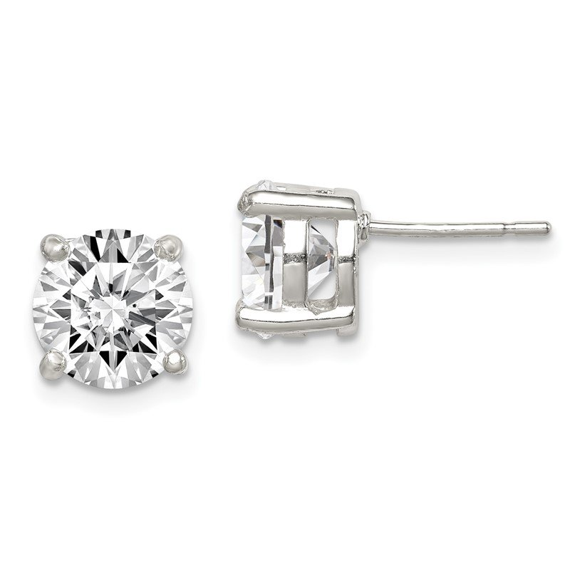Quality Gold Sterling Silver 8mm Round CZ Stud Earrings