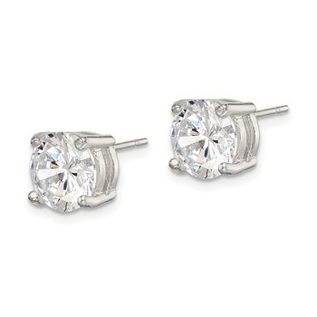Sterling Silver 8mm Round CZ Stud Earrings