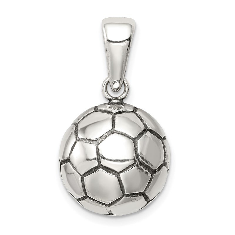 Quality Gold Sterling Silver Antiqued Soccer Ball Pendant