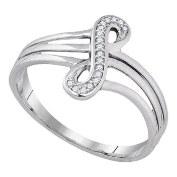10kt White Gold Womens Round Diamond Vertical Infinity Strand Ring 1/20 Cttw