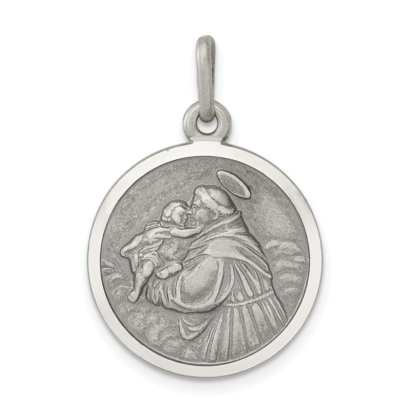 Quality Gold Sterling Silver Antiqued Saint Anthony Medal