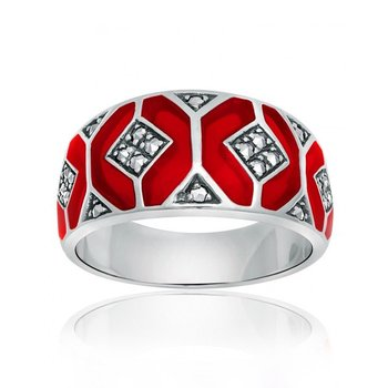 Thin Red Enamel Ring