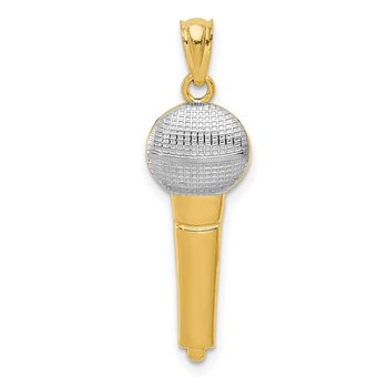 14k and Rhodium Microphone Pendant