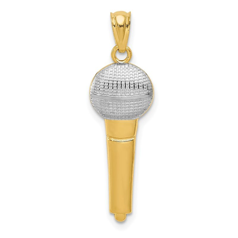 Quality Gold 14k and Rhodium Microphone Pendant