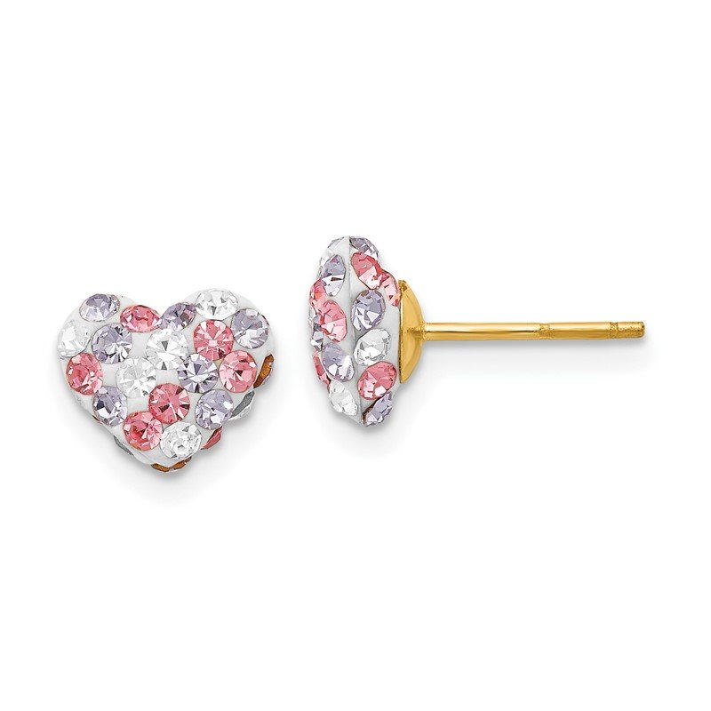 Quality Gold 14k Multicolored Crystal 8mm Heart Post Earrings