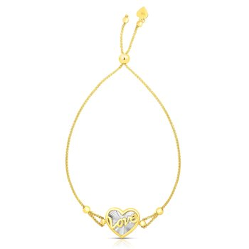 14K Gold Heart Shaped Love Friendship Bracelet