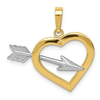 14k w/Rhodium Heart & Arrow Pendant