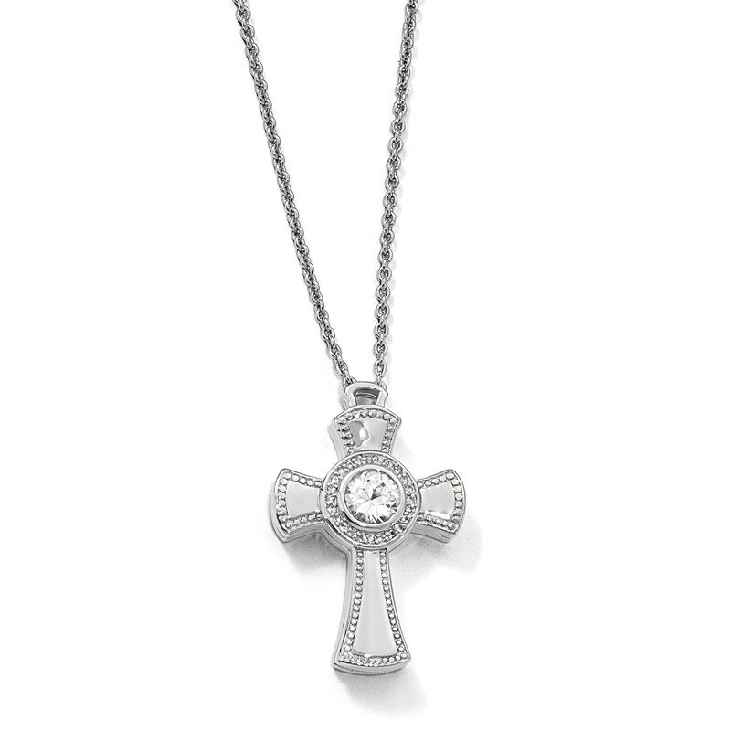 Quality Gold Sterling Silver Polished w/Sapphire Magnetic Cross Adjustable Necklace