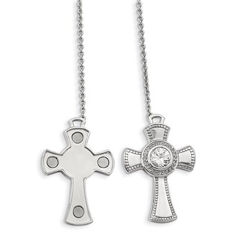 Sterling Silver Polished w/Sapphire Magnetic Cross Adjustable Necklace