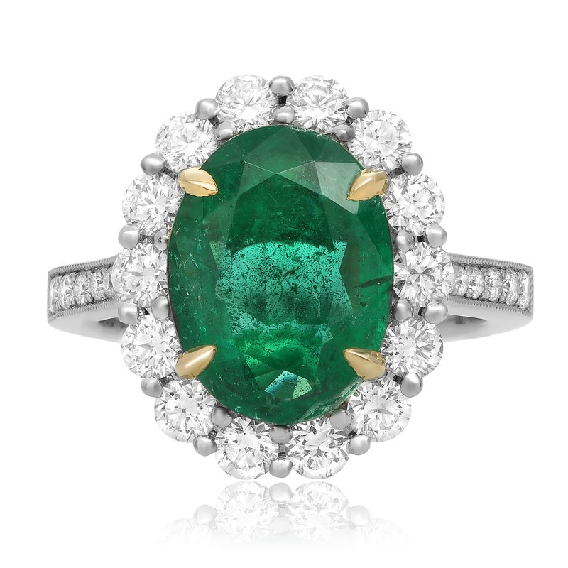 Roman & Jules Flowering Halo Emerald Ring