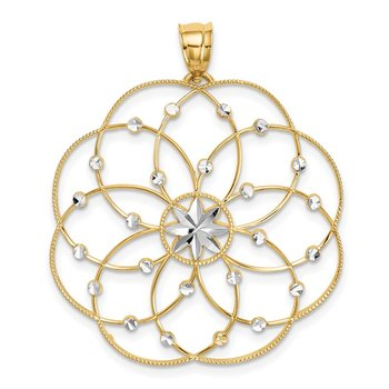 14k and Rhodium Diamond-cut Spiral Circle Pendant