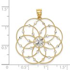 Quality Gold 14k and Rhodium Diamond-cut Spiral Circle Pendant