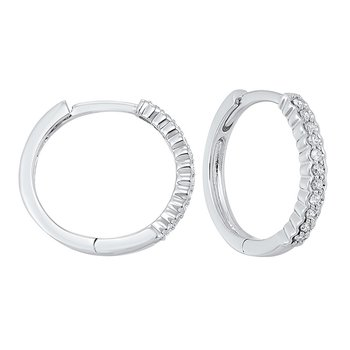 14K White Gold Mixable Prong Diamond Earrings 1/7CT