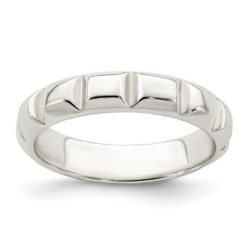 Sterling Silver Notched Design Band Ring