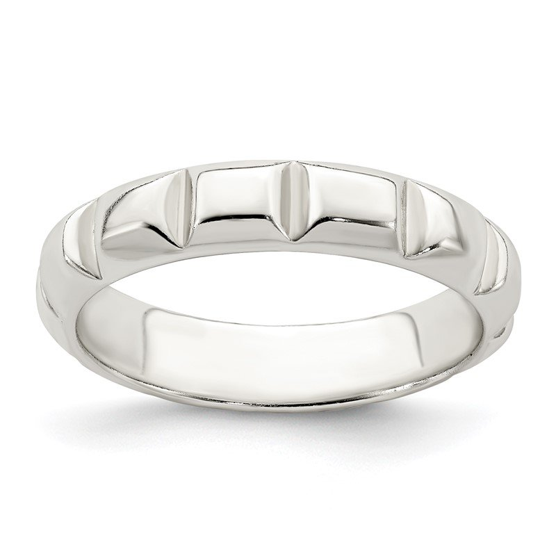 Quality Gold Sterling Silver Notched Design Band Ring