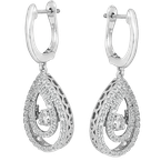 SDC Creations Dancing Diamond Pear-Shaped Halo Earrings in 14K White Gold
