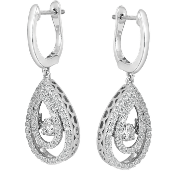 Dancing Diamond Pear-Shaped Halo Earrings in 14K White Gold