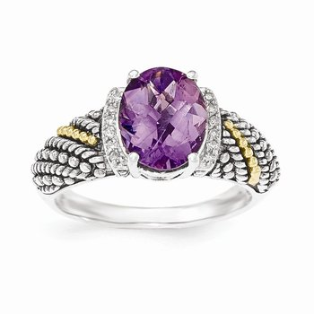 Sterling Silver w/14k Amethyst & Diamond Ring
