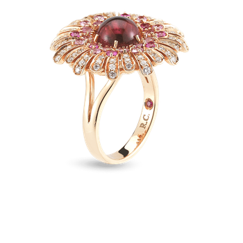 18Kt Gold Ring With Diamonds, Sapphires And Tourmaline