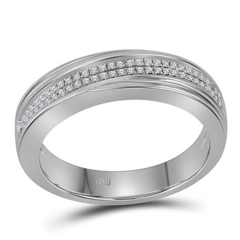10kt White Gold Mens Round Diamond Double Row Wedding Band Ring 1/5 Cttw