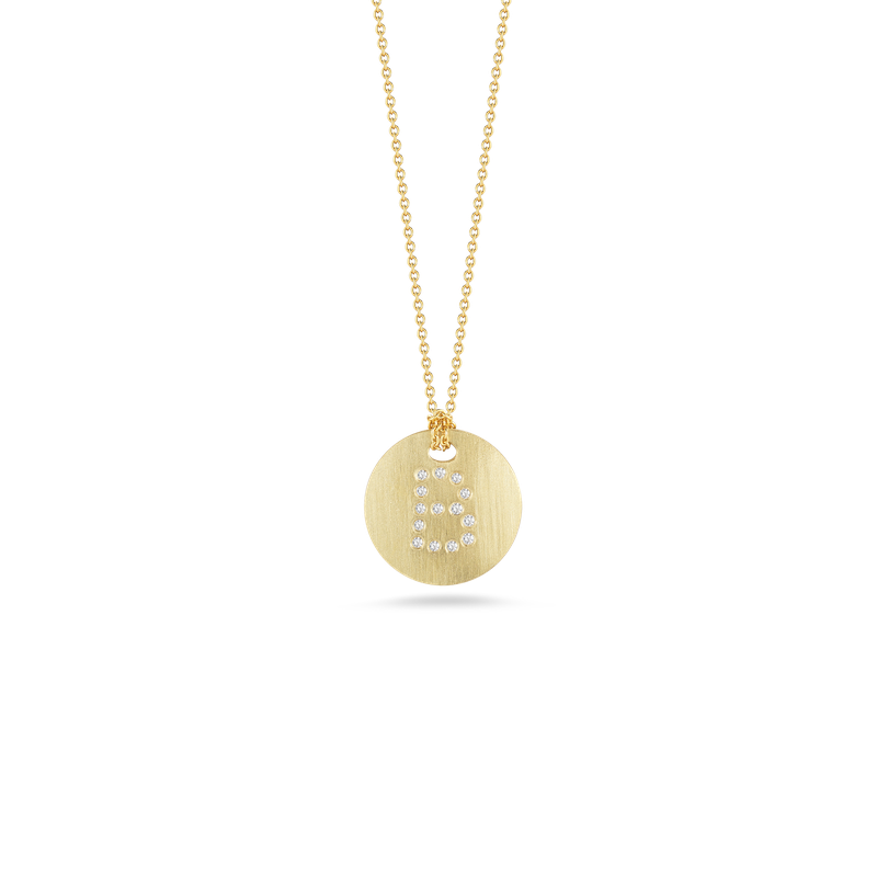 Roberto Coin 18Kt Gold Disc Pendant With Diamond Initial B