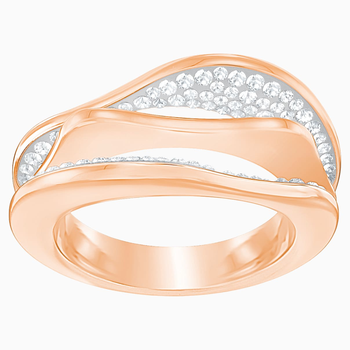 Hilly Ring, White, Rose-gold tone plated