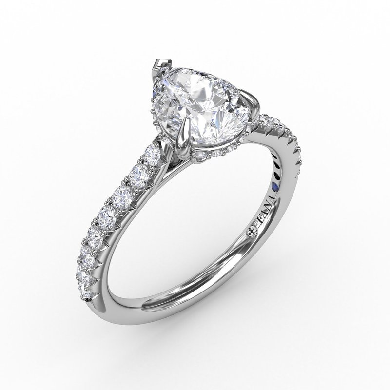 Pear Cut Solitaire With Hidden Halo