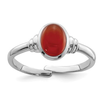 Sterling Silver Rhodium-plated Red Agate Ring
