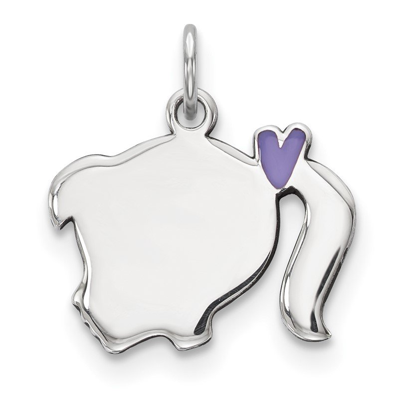 Quality Gold Sterling Silver Rhod-plate Purple Enamel Left Facing Girl Head Disc Charm