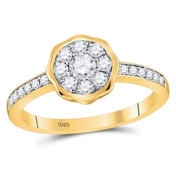 14kt Yellow Gold Womens Round Diamond Flower Cluster Ring 1/2 Cttw