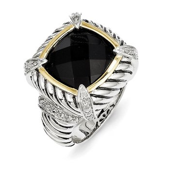 Sterling Silver w/14k Black Onyx & .02ct. Diamond Ring