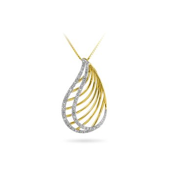 14K YG Diamond Pear Shape Fashion Pendant
