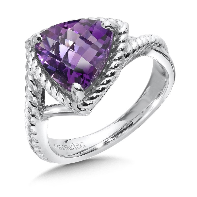Colore Sg Sterling silver, trillion purple amethyst  ring
